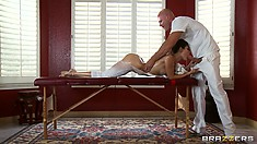 Nice oiled up massage on her hot ass and then sucking and fucking