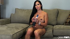 Jewels Jade titillate her big tits and juicy pussy with her sex toy