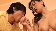 Gorgeous japanese chick with massive tits makes out with her lover