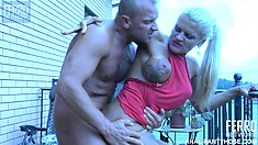 Sexy nylons turn him on and after she blows him, he bangs her butt