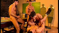 Six lusty ripped soldiers have an out-of-control gay anal orgy