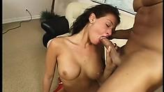 Long-legged brunette gets wet as she rides a fat rod of pleasure