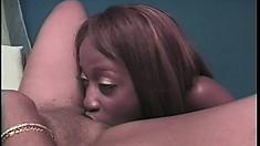 Ebony vixen fucks her sexy black girlfriend's pussy with a sex toy