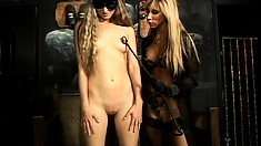 Naughty girl lets her sexy blonde mistress do whatever she pleases