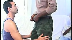 Sexy white dude has three black guys taking turns drilling his hungry ass