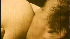 Aroused hunk enjoys going down on his toned friend in this vintage action