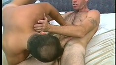 Toned DILF is eager to get his fat prick sucked by his hung lover
