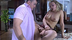 Kind and beautiful babe Sandy is stretched by Nicholas' long cock
