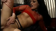 Brunette whore in fishnets gets her ass fucked down to the balls