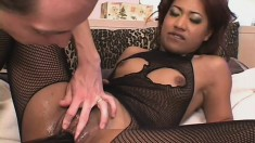 Asian slut blows, gets pumped and a baseball bat fucking her as well