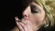 Horny blonde milf with a sexy slim body has fun with two horny studs