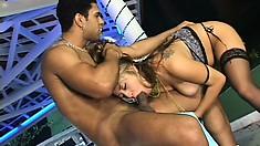 Ravishing blonde in stockings Babalu takes a long prick up her ass